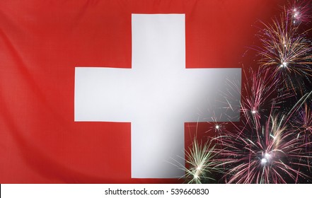 Textile flag of Switzerland with firework seamless close up with wind waves in the real fabric