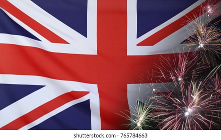 Textile flag of United Kingdom with firework seamless close up with wind waves in the real fabric
