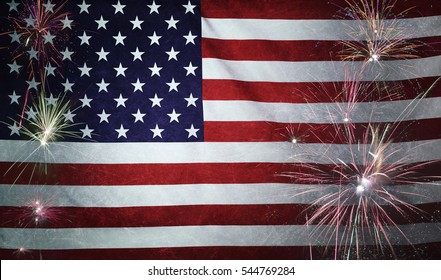 Textile flag of USA with firework grunge concept seamless close up with wind waves in the real fabric
