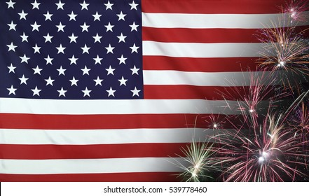 Textile flag of USA with firework seamless close up with wind waves in the real fabric