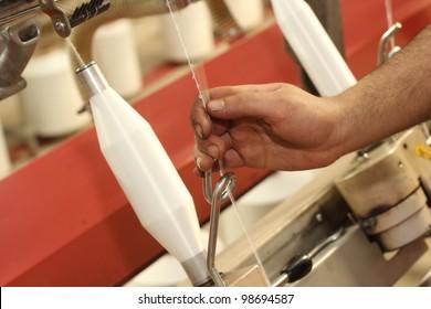 Textile industry (denim) - Weaving and warping
