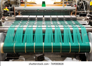 Textile industry with knitting machines in factory - italian - made in Italy