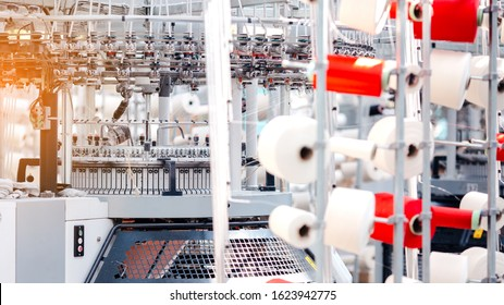 Textile Manufacturing. Circular knitted fabric. Textile factory in spinning production line and a rotating machinery and equipment production company. Clothing industry. Manufacturing textile fabrics.