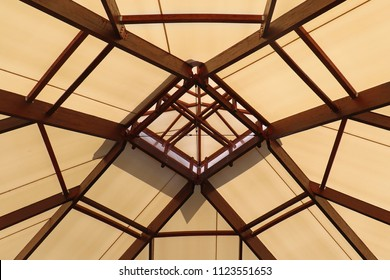 Textile material ceiling with skylight in the middle from inside