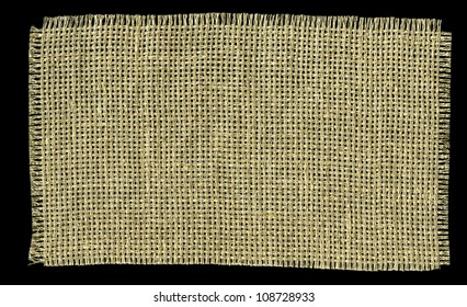 Textile Patch Isolated On Black Background. Ready for your message.
