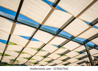 Textile roof shade protection. Outdoor Canopies and Shade Structure