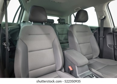 Textile seats in modern car. Interior detail.