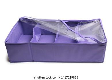 Textile storage box on white background