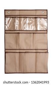 Textile storage pocket organizer isolated on white background