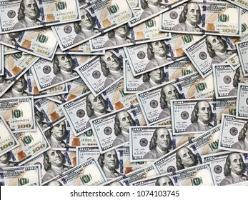 textural background of one hundred dollar bills
