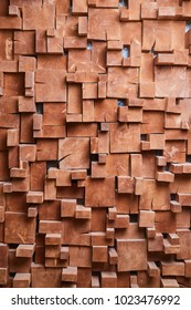 Textural wall made of square wooden bars