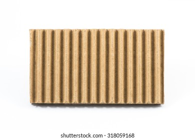 Texture of AA Flutes Corrugated Medium Paper (Fluting), Isolated on White Background