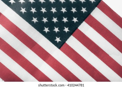 Texture of american flag on a cloth for background. Toned.