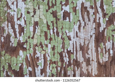 Texture of antique wooden surface with cracked, scraped green paint.