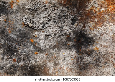 Texture of ash and rusty metal, top view