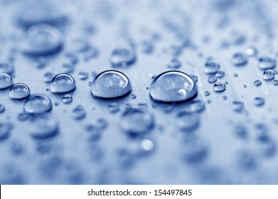 texture and background of beautiful blue water drops