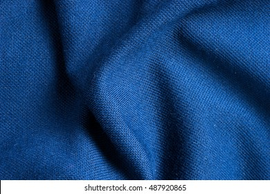 Texture And Background Of Blue Polyester Fabric