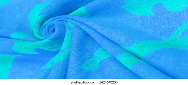 Texture, background, cotton fabric thin blue with a print of squirrels, martens, sables. Pattern, Decor, Textile, Art, with this fabric you immerse yourself in the world of Rokashi and prosperity
