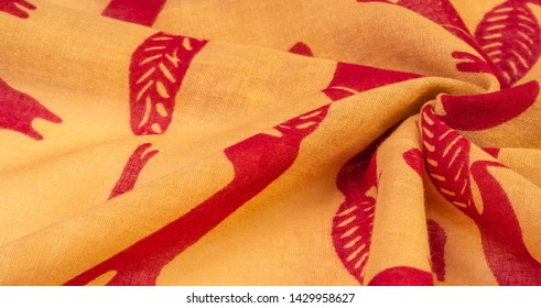Texture, background, cotton fabric thin yellow with a print of squirrels, martens, sables. Pattern, Decor, Textile, Art, with this fabric you immerse yourself in the world of Rokashi and prosperity