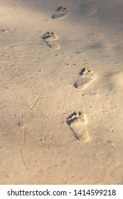 Texture background Footprints of human feet on the sand.