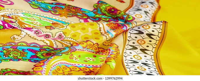 Texture, background, paisley silk fabric, Indian themes ornate traditional paisley elements with ethnic details in a bohemian print