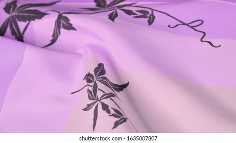 Texture, background, pattern, postcard, silk fabric, blue, lilac glaucous tones, black patterns with print, floral pattern, exquisite fabric will make your project the best