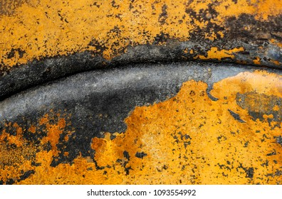 texture background rusty metal with yellow oxide
