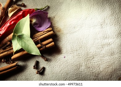 Texture background skins with dried spices