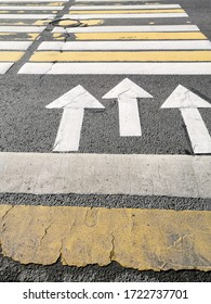 Texture background of zebra crosswalk with yellow and white stripes and directional arrows