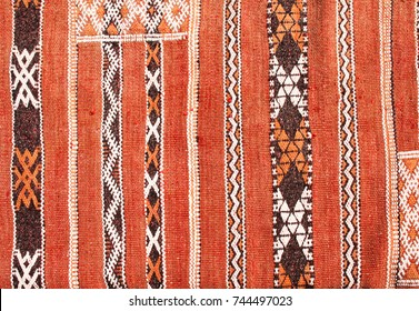 Texture of berber traditional wool carpet with geometric pattern, Morocco, Africa