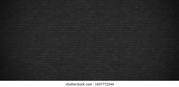 Texture of black dark brick wall. Elegant wallpaper design for  graphic art . Abstract background for business cards and covers. photo high resolution. wide panorama