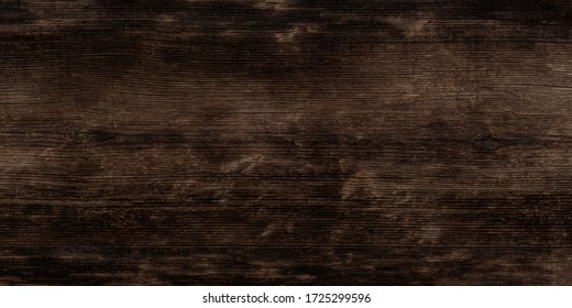 Texture of black and dark brown old wood. Charred and burnt old Board with knots. Wide burned board texture close-up, panoramic banner. - Shutterstock ID 1725299596
