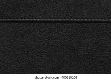 Texture black leather with stitching