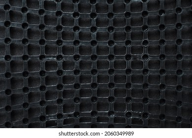 Texture: black metal iron grating, grid or stainless steel grate. Venting, ventilation with geometric design pattern