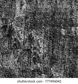 Texture black and white grunge. Monochrome pattern of cracks, stains, scuffs, chips, dust, dots, of ink. Urban style texture for printing on posters, business cards, cover, labels mock-up, layout