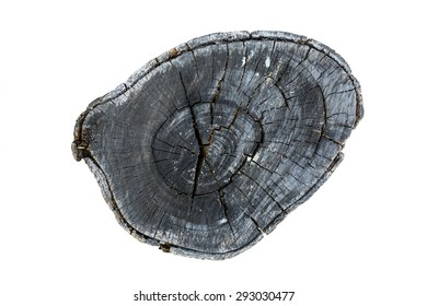 texture of black wood logs background with crack damage of aged annual rings isolated