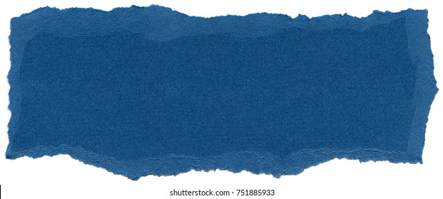 Texture of Bleu de France blue fiber paper with torn edges. Isolated on white background.