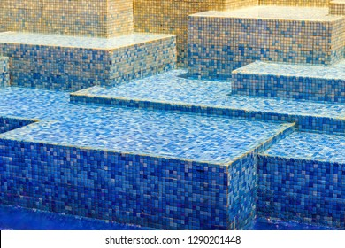 Texture blue blur ceramic mosaic tile background, Water wave swimming pool