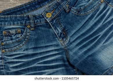 Texture of blue denim fabric background.