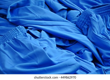 texture of blue fabric sport wear, spandex and polyester pants