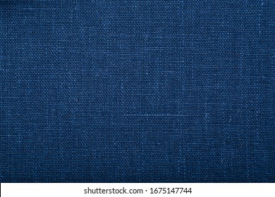 Texture of blue linen flax natural fabric