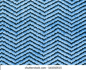 texture of blue zigzag wool carpet