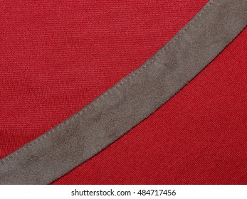 texture bright red fabric made of cotton with brown suede insert