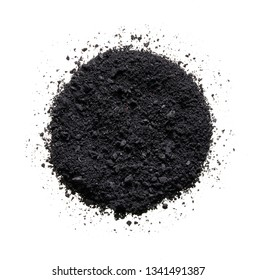 Texture of broken black eyeshadow or powder. Macro texture of broken black powder, background