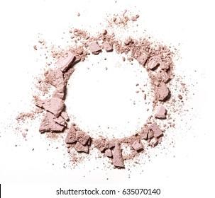 Texture of broken eye shadow round shape on white background