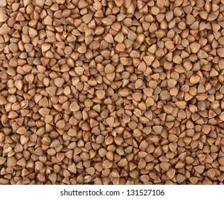 The texture of buckwheat groats. Raw buckwheat.