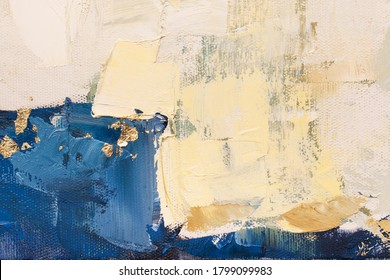 The texture of the canvas, coated with oil paints. Trendy blue and golden colors, copy space. The concept of a creative atmosphere, artistic events, education, etc.