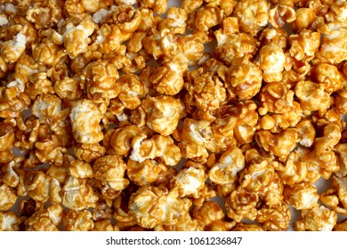Texture of caramel popcorn, top view, copy space.