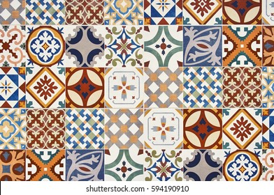 Texture of ceramic tiles in oriental turkish style. Turkish ceramic tiles lined on the wall. Ready idea for your design
