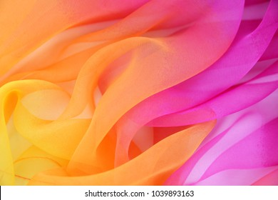Texture chiffon fabric pink and yellow  color for backgrounds